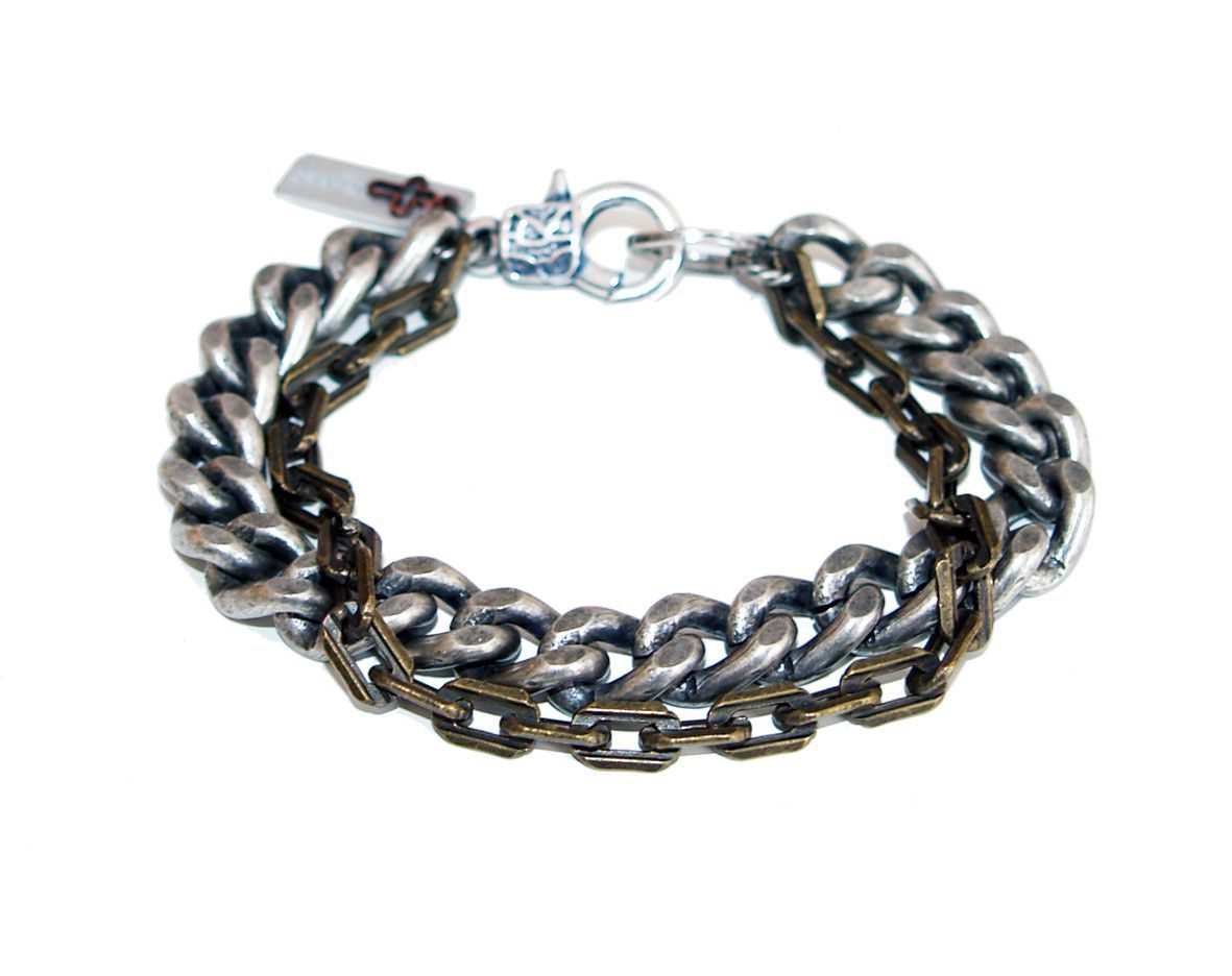 Mens multi chain bracelet in brass and silver jewelry bracelet