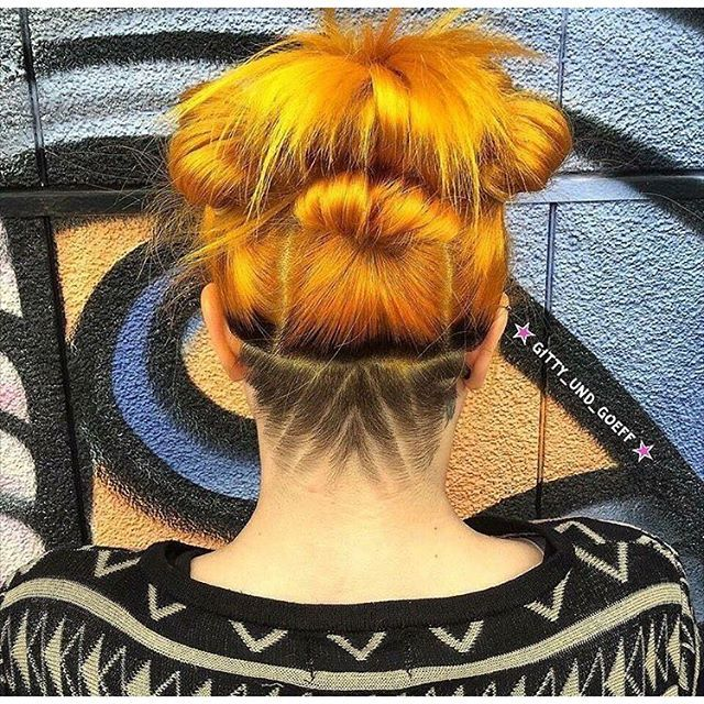 The super talented stylists at @gitty_und_goeff in Switzerland created this #beautiful #sunflower hair on @from_another_world_ and topped (or bottomed) it off with a pretty #rad #undercut! To get this #vibrant hue, they used #Sunshine with a little bit of #PsychedelicSunset!
