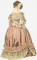 This evening gown is a typical evening gown from 1839. In this case, the gown is a pale pink satin and ornamented with two folds of satin, knots of ribbons, and Brussels lace at the shoulders. The tight sleeves fall at the elbow and are trimmed with bands and knots of ribbons. Note also that the mid-length gloves are tied with ribbons at the top and that the bottom of the gown is trimmed with a Brussels lace flounce. From http://2romance2.blogspot.com/2013/11/evening-gowns-of-1839.html