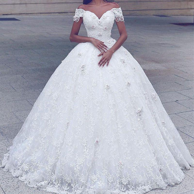 Weiß Elfenbein A-Linie Spitze Brautkleider Hochzeitskleid Abendkleid ...