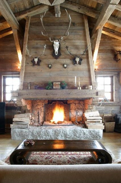 Wood Stone Fireplace With European Mounts Love