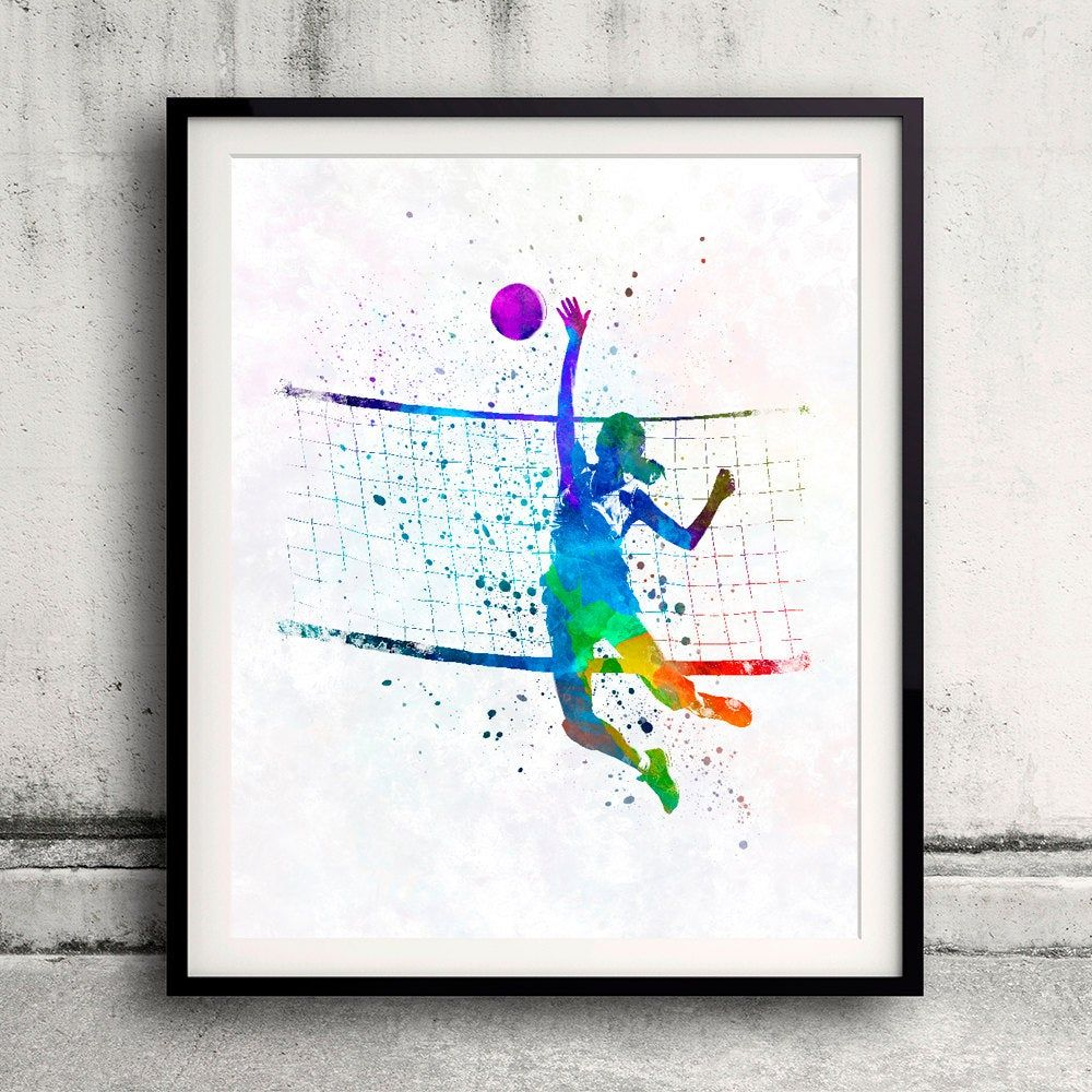 Woman Volleyball Player In Watercolor Fine Art Print Glicee Poster Home Watercolor Sports Gift Room Illustration Wall Sku 2314 Volleyball Players Women Volleyball Illustration Wall