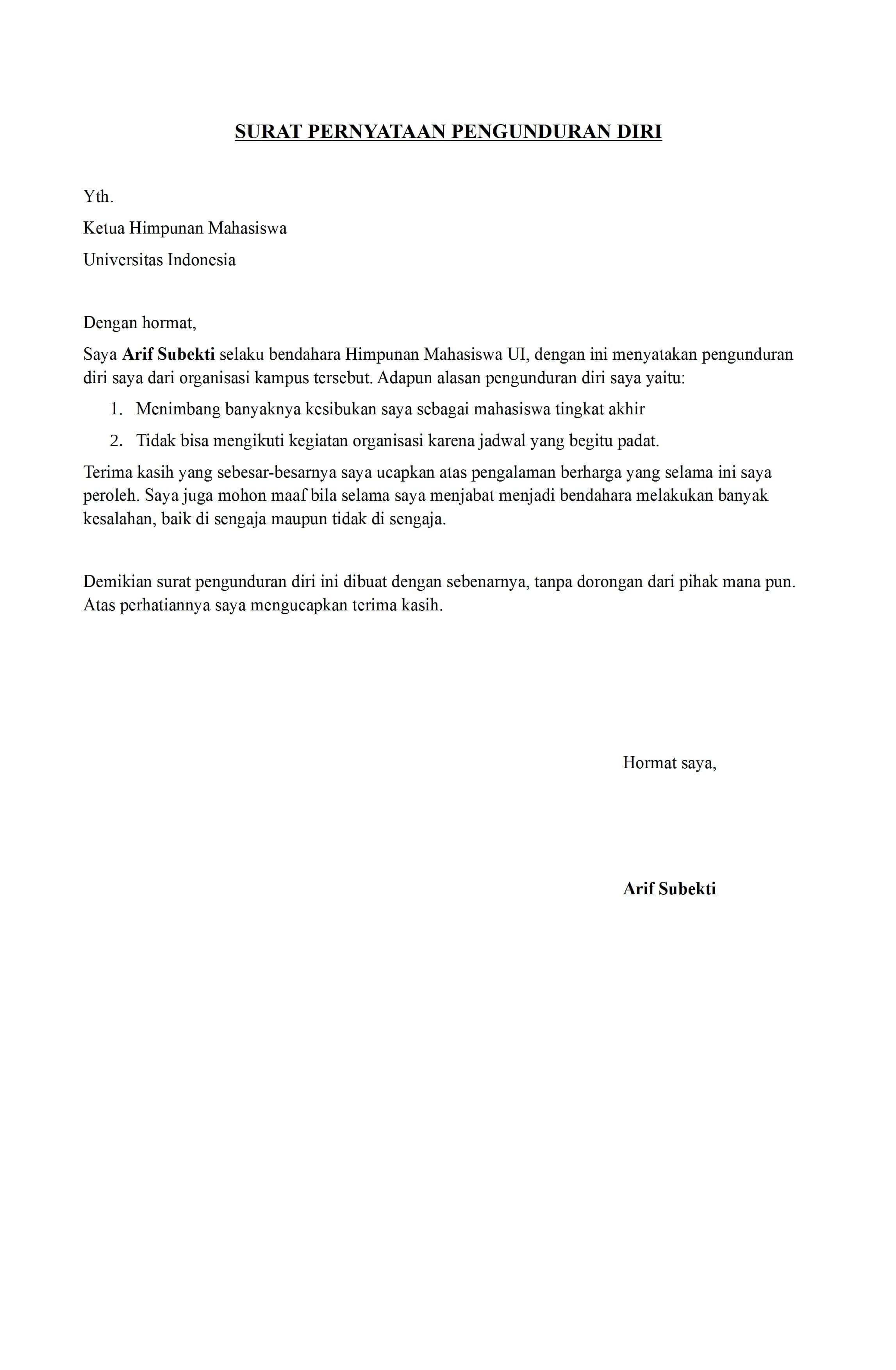 Contoh Format Surat Pengunduran Diri Mahasiswa - Kumpulan ...