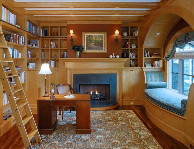perfect office   Home libraries, House, Home library