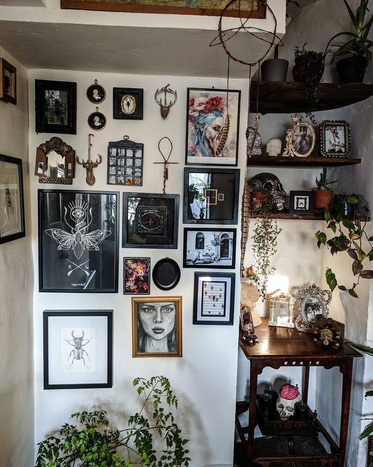 Photo of goth gallery wall
