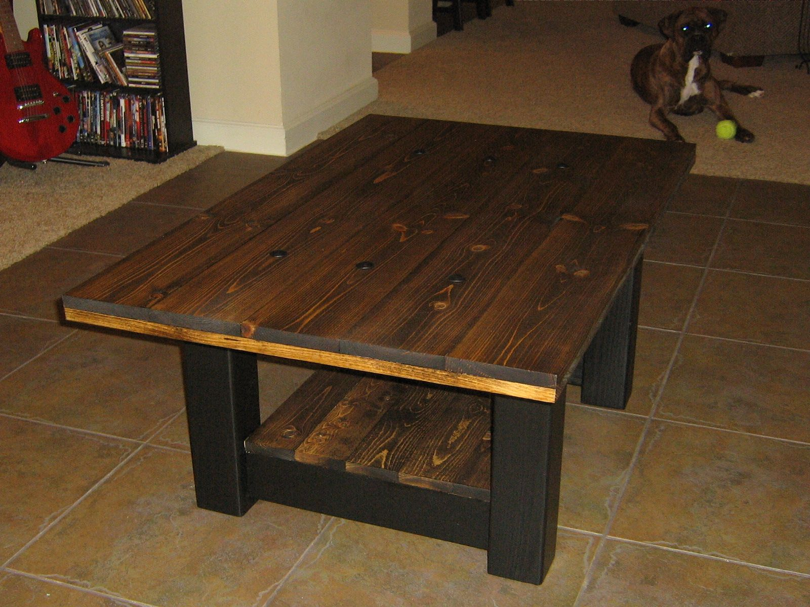solid pine coffee table Dark walnut stain and satin black