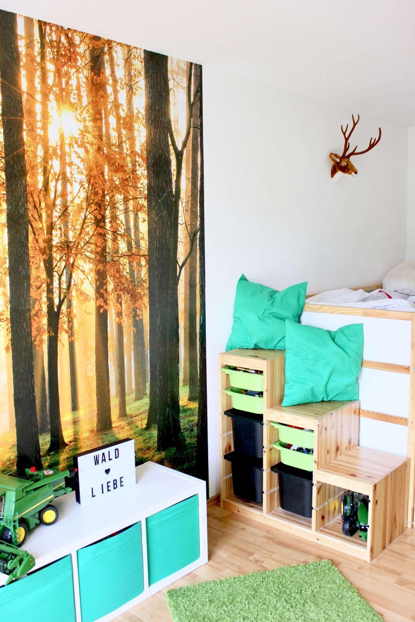 DekoIdeen für ein WaldKinderzimmer mit viel Stauraum
