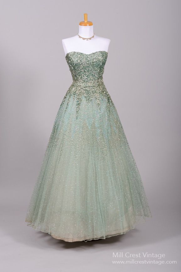 1950s Sea Foam Green Sequin Encrusted Vintage Evening Ball Gown Mill Crest