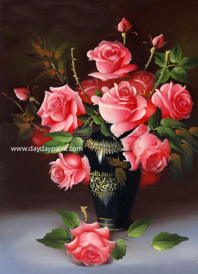 Rose Flower Vase Paintings 27 Design Roses Pinterest Cross