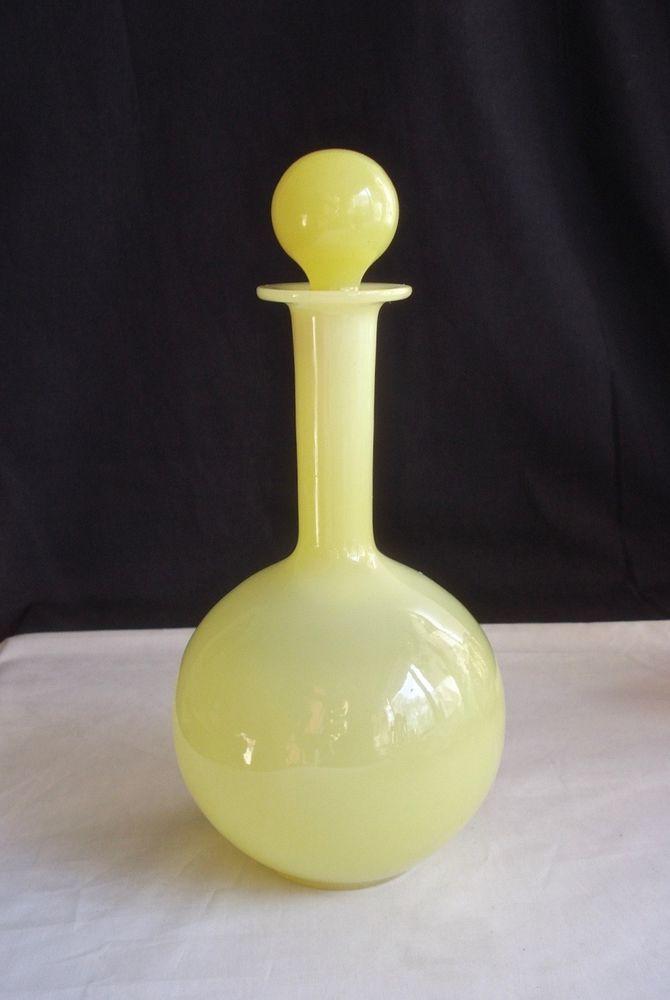 French Glass Portieux Vallerysthal Decanter 1930 Yellow Opaline Pv