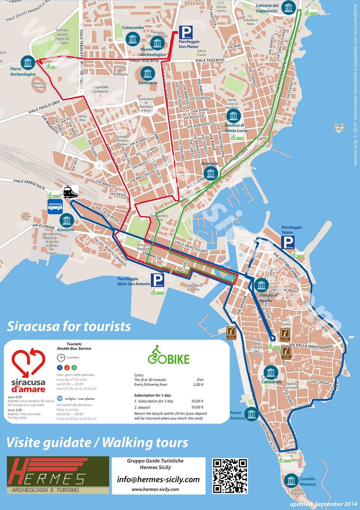 Touristic mini shuttle busses map in Syracuse Sicily Sicilia