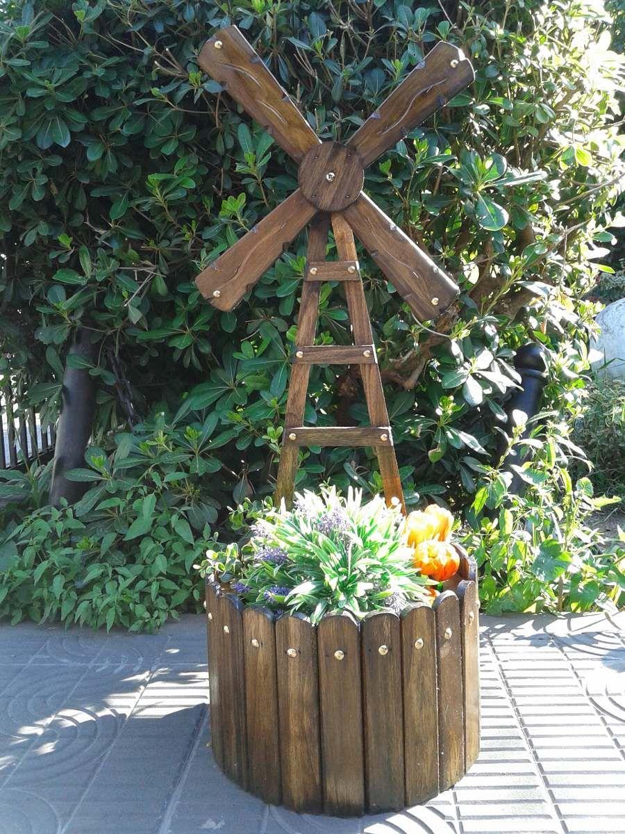 Molino porta macetas adornos para jardin pinterest - Tiestos de madera ...