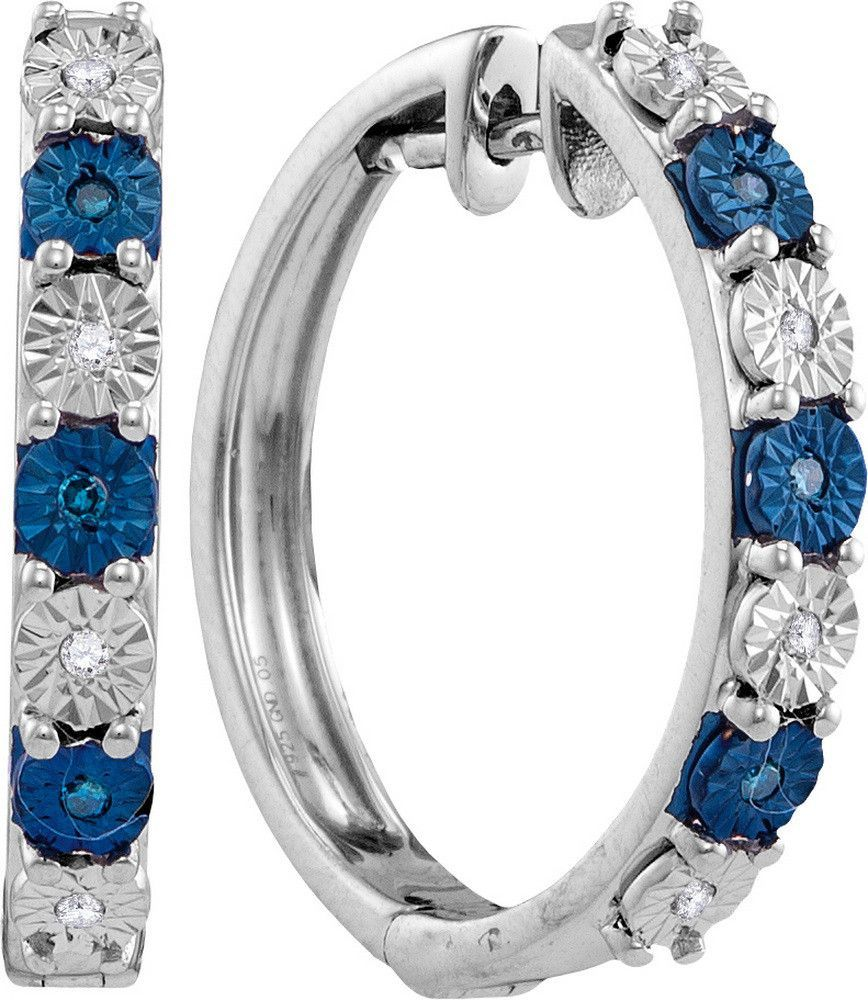Sterling Silver Womens Round Blue Colored Diamond Hoop Earrings 1/10 Cttw 110715