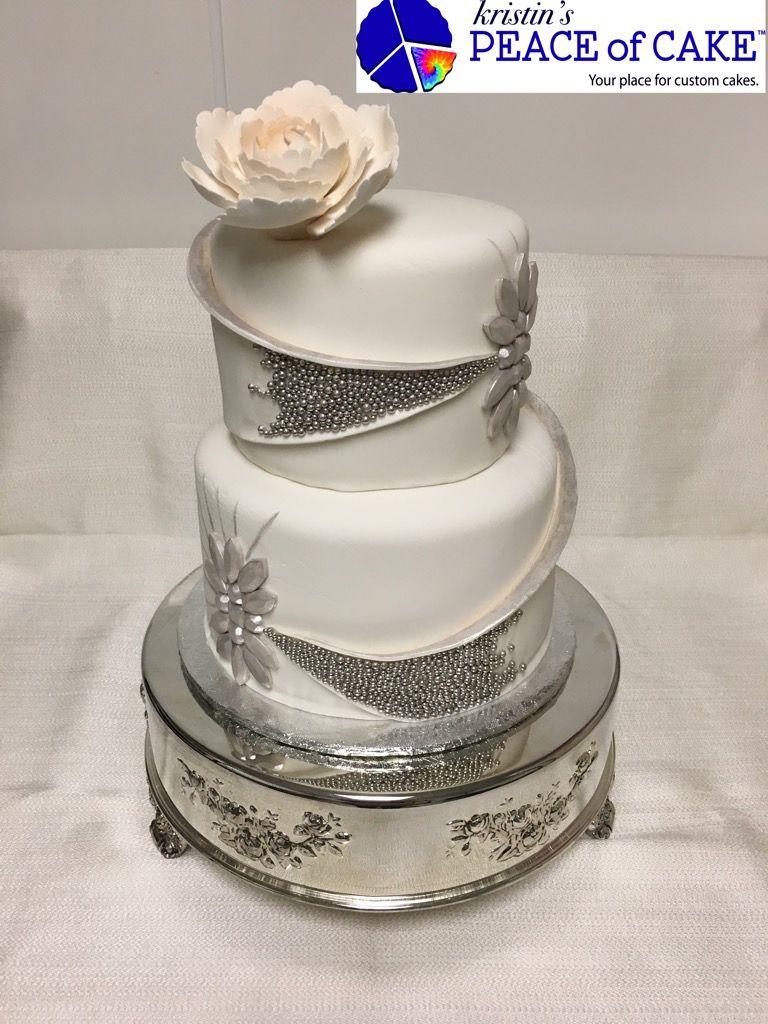 White u silver wedding cake kristinus peace of cake pinterest cake