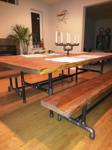 2 4x8 Doug Fir Live Edge Table With Benches On 1 14 Steel Pipe