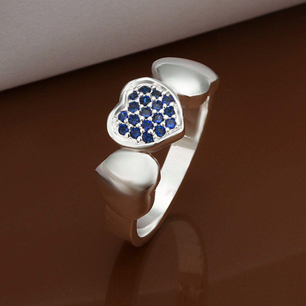 Crystal+Heart+Shape+Multi+Sapphire+Imitation+Rhinestone+Silver+Plated+Ring