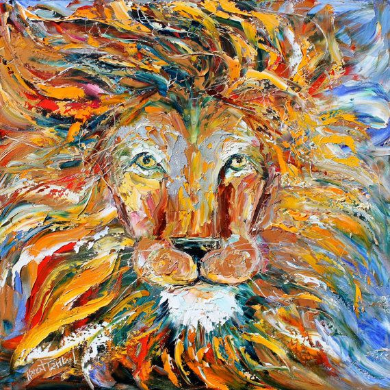 Original Wild Lion animal palette knife painting oil