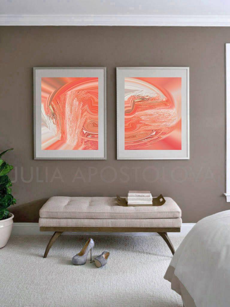 Set Of Two Prints Coral Color Wallart Coralprint Art Decor