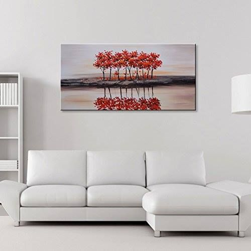 Seekland Art Handmade Modern Artwork Abstract Oil Painting Landscape Wall Decoration Picture Red Tree Canvas Framed Ready To Hang