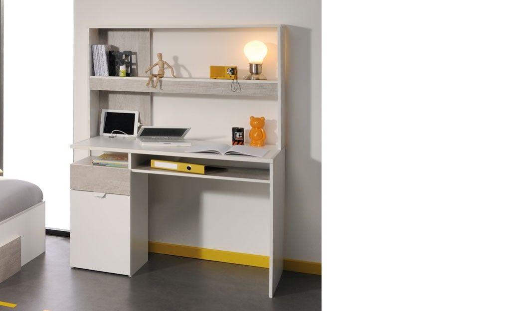Bureau ado moderne blanc et couleur bois gris DARUI Chambre