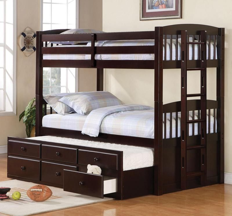Logan Twin Over Twin Bunk Bed with Trundle Understorage by Coaster