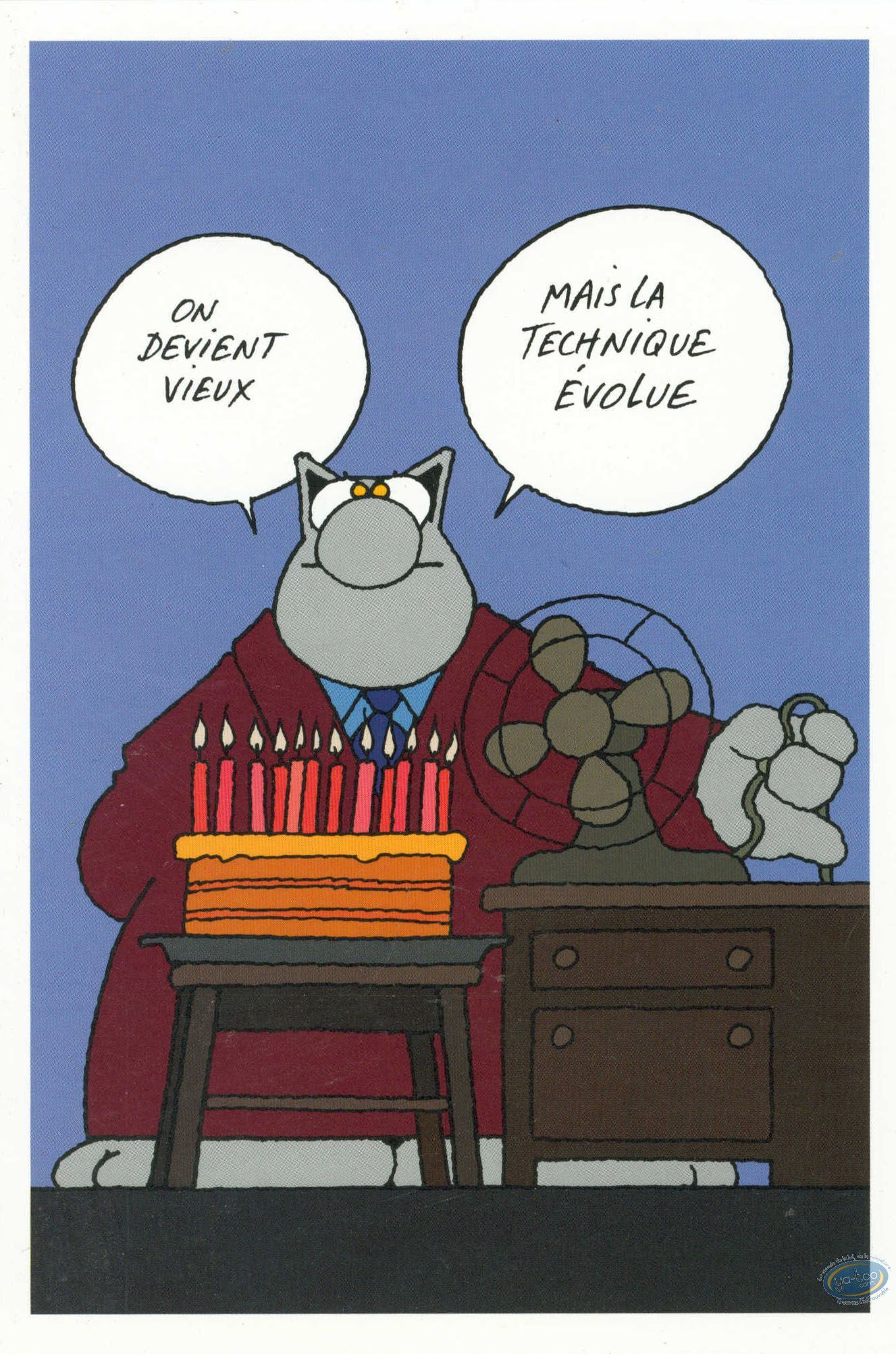 Carte postale chat le anniversaire la technologie - Caricature gratuite en ligne ...
