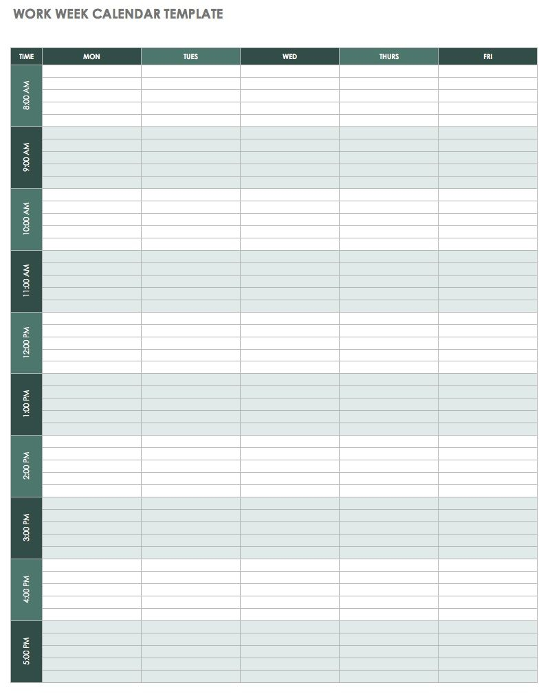Weekly Calendar Template Excel | 2019 Calendar Template in One pages