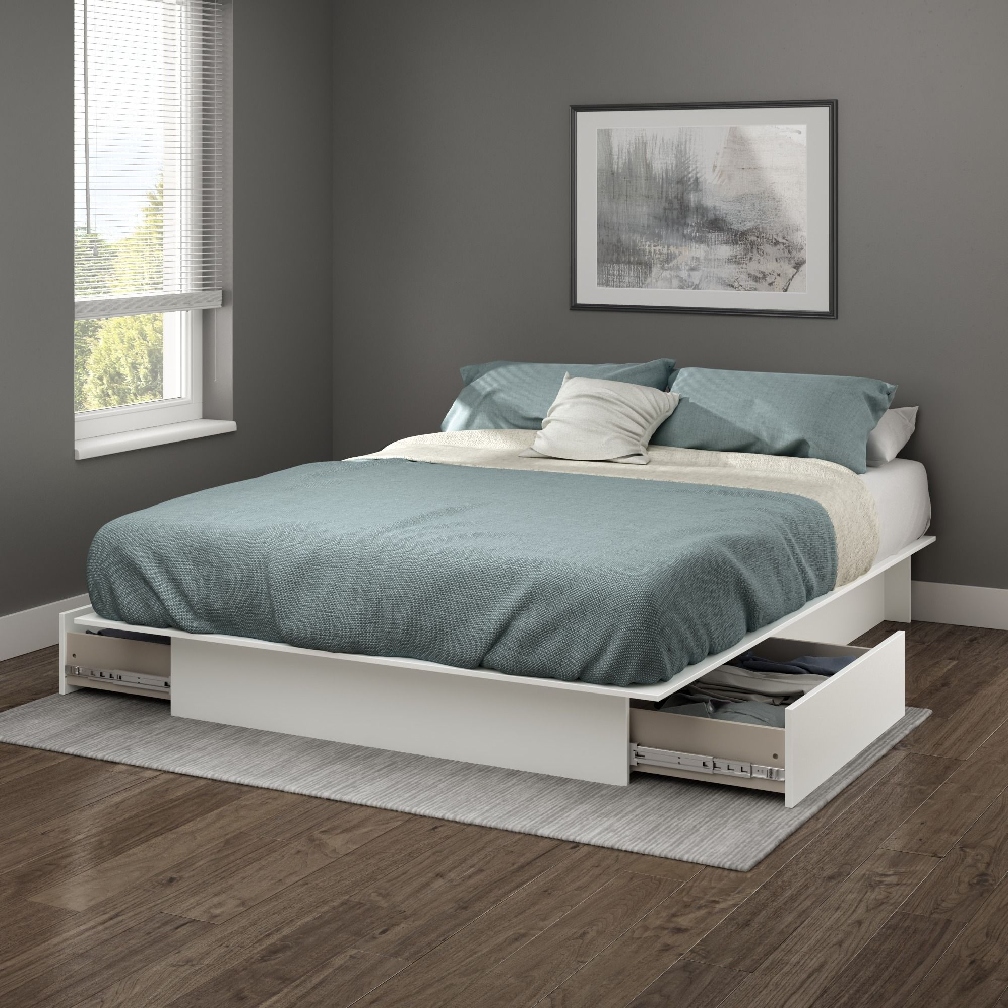 Home In 2020 White Platform Bed Bed With Drawers Bed Frame