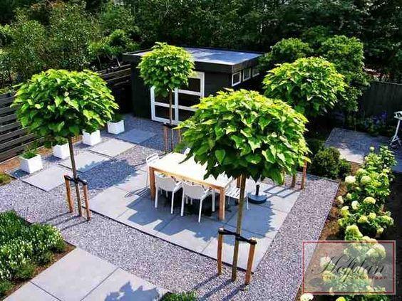 Kleine Tuin Inrichten : Tuinontwerp berkjes met grind en tegels kleine tuin inrichten
