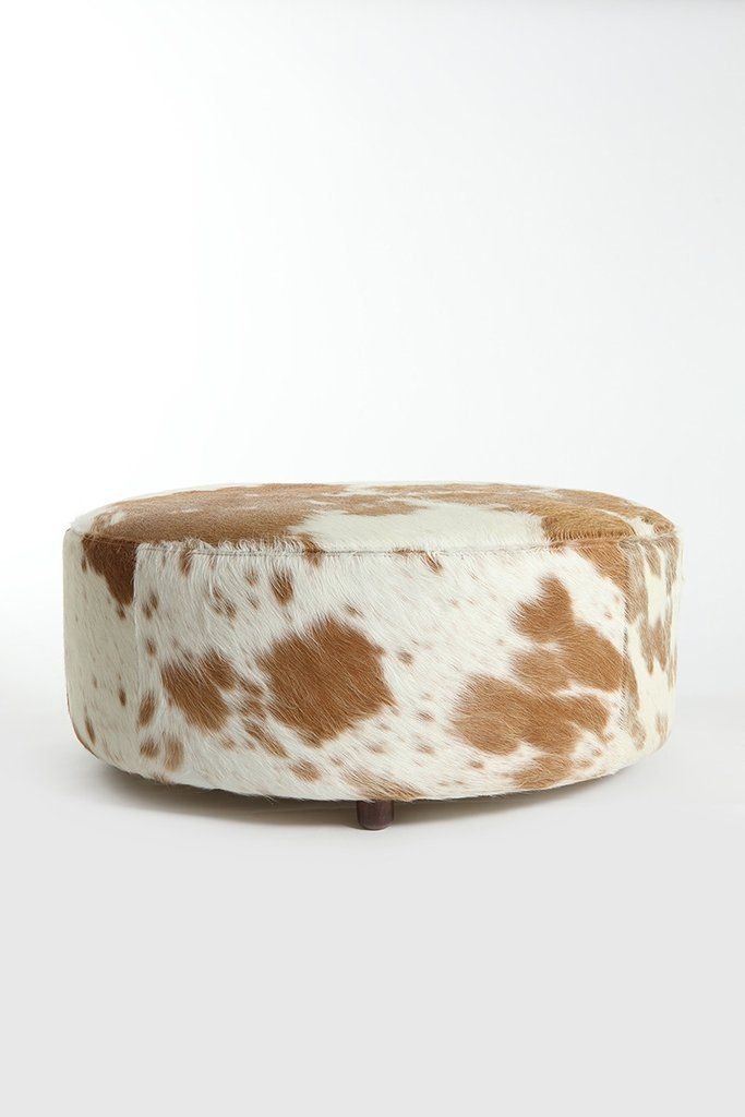 Swell Brown White Round Hide Ottoman Cowhide Ottoman Round Spiritservingveterans Wood Chair Design Ideas Spiritservingveteransorg