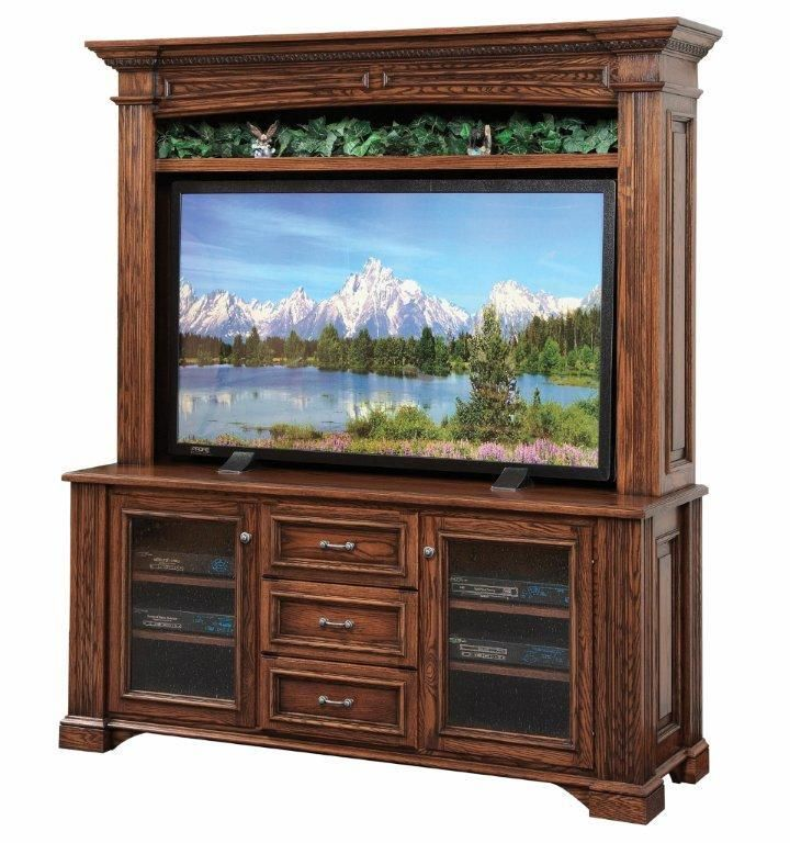 Amish Lincoln Plasma Tv Stand With Optional Hutch Top