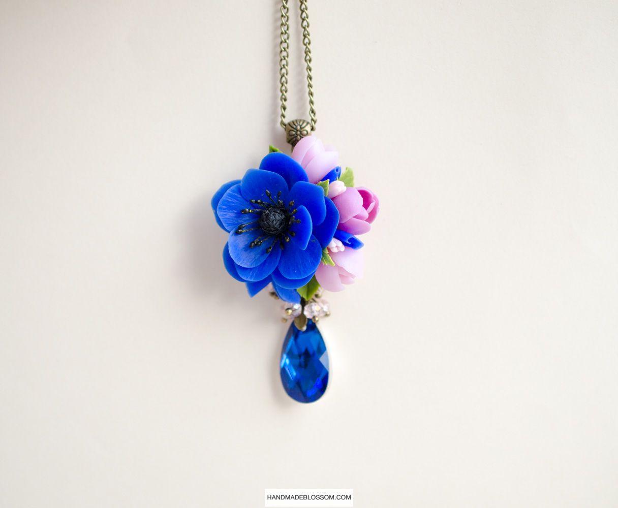 Navy Blue Anemone Pendant Clay Flowers Jewelry Blue And Purple Flowers Swarovski Floral Pendant Polymer Clay Necklace Polymer Clay Jewelry Floral Jewellery