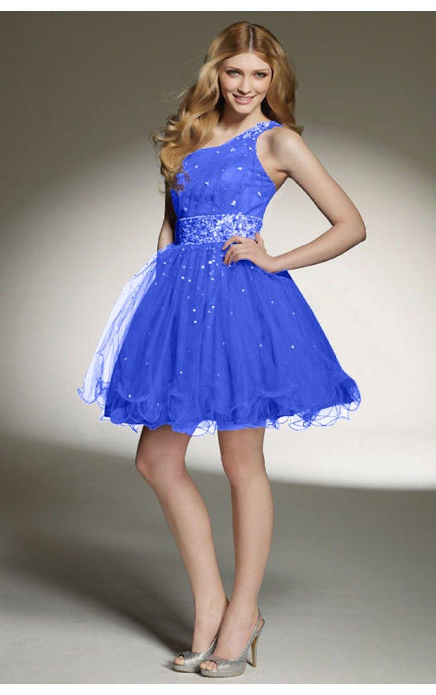 Royal blue ball gown short one shoulder dress dresses pinterest