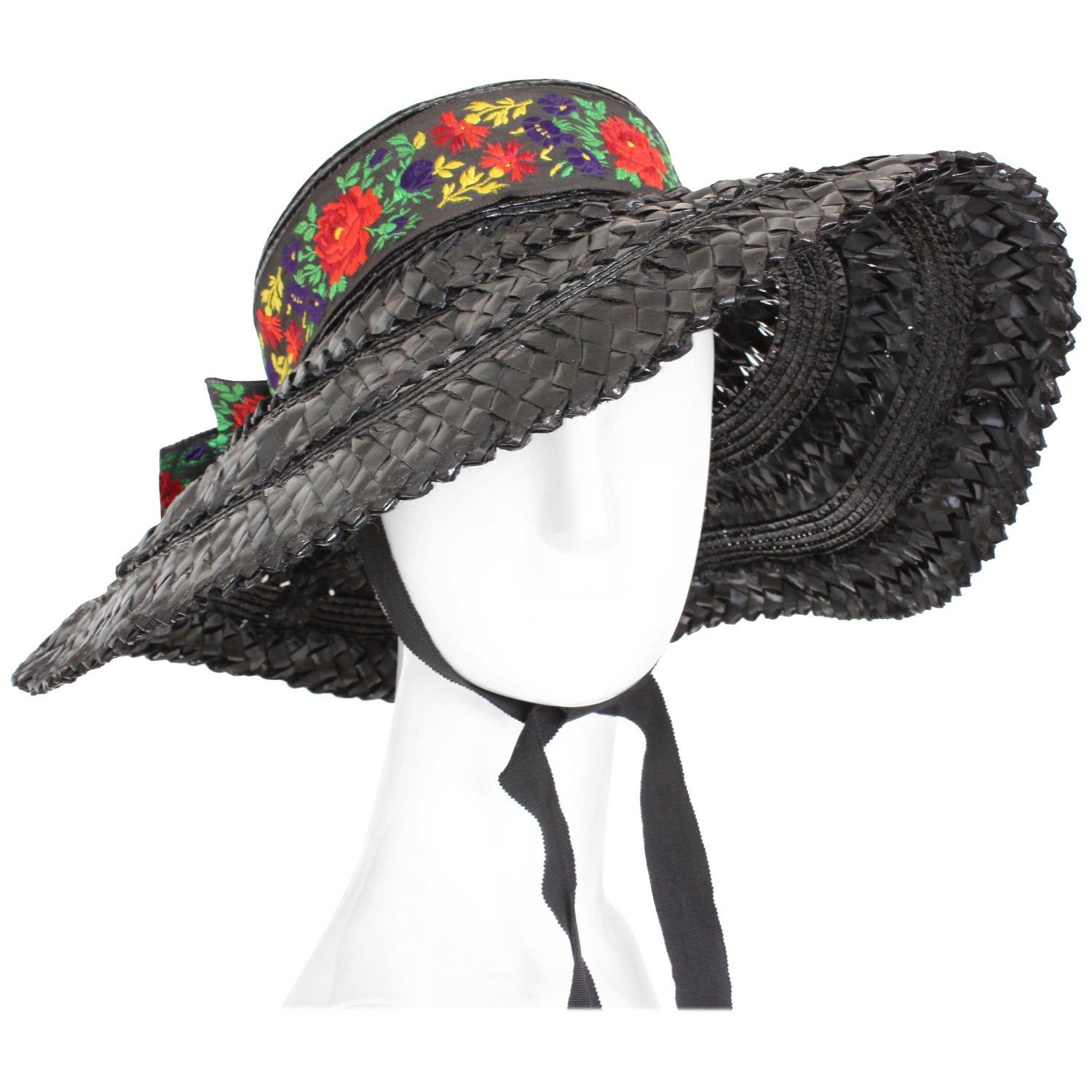 073424815f7 Yves Saint Laurent Rive Gauche Wide Brim Straw Hat with Florals, 1970s