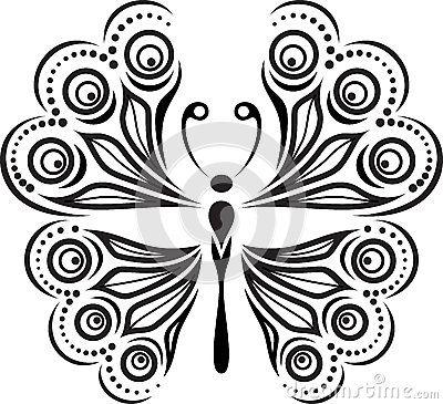 Silueta delicada de la mariposa Dibujo de lneas y de puntos
