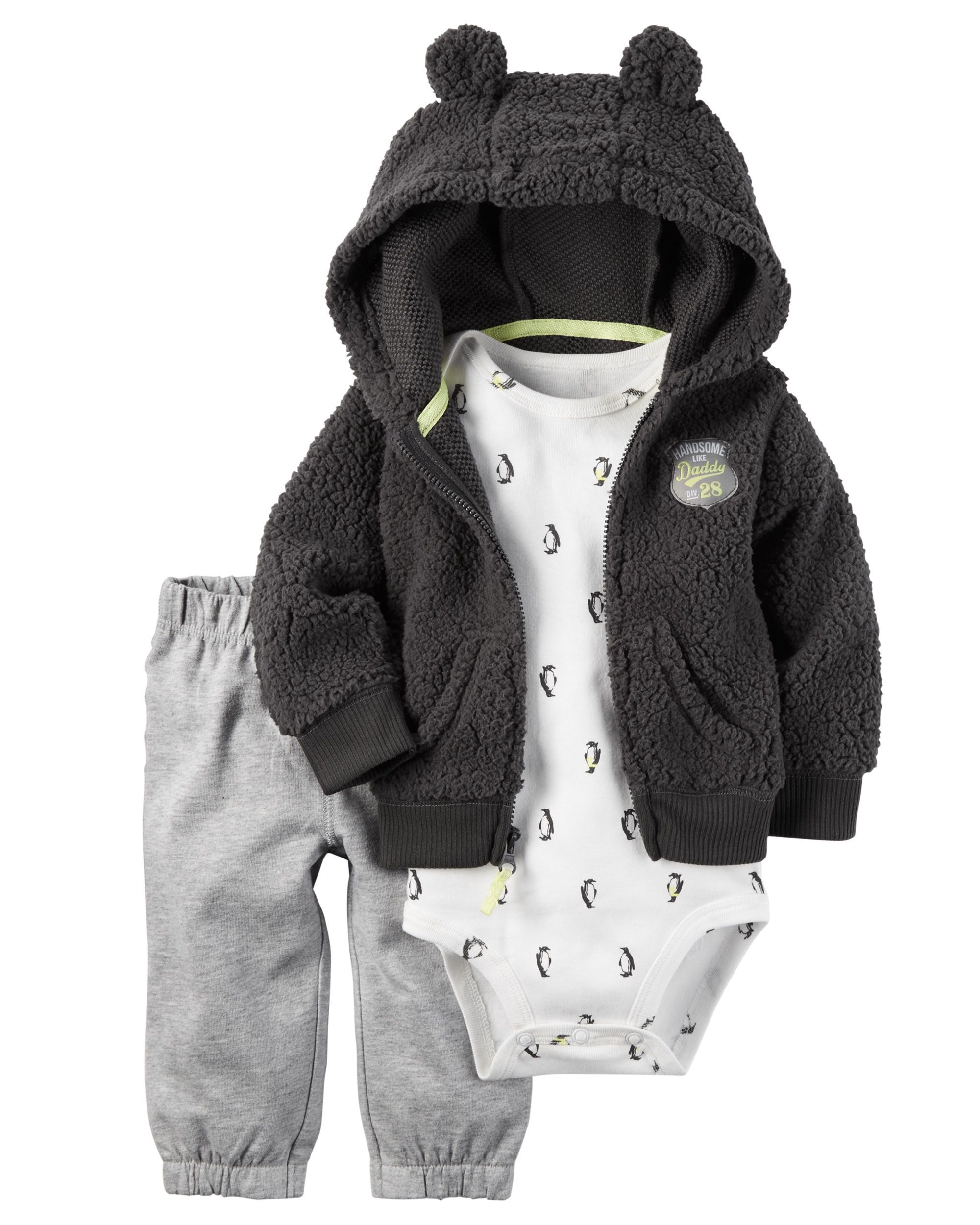 Crafted in plush snow fleece with a cozy animal ear hood, this jacket set is complete with a soft cotton bodysuit and French terry pants.