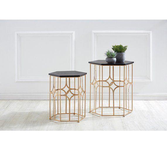 Premier Housewares Lexa Set Of 2 Side Tables Rose Gold