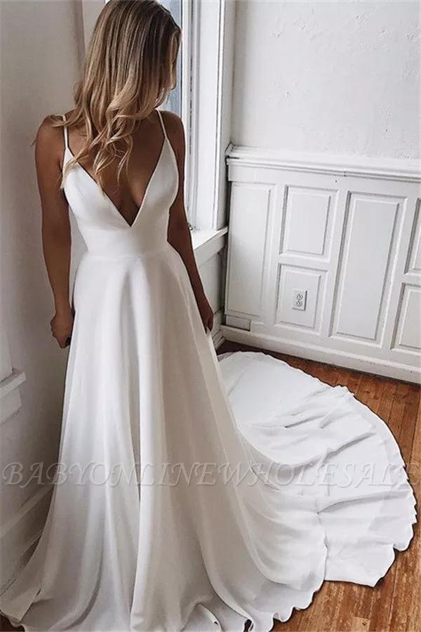 Elegantes Brautkleid V-Ausschnitt | Bodenlang Abendkleider A-Linie | Babyonlinew… – Outfit