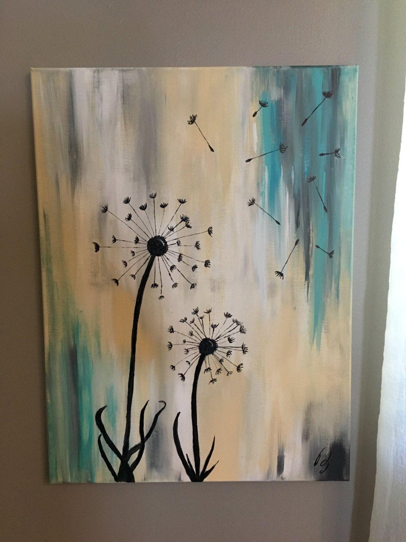 Dandelion painting by JensenAcrylics on Etsy   Pincedadas ...