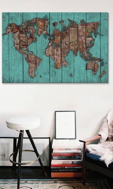 cool wood map canvas print