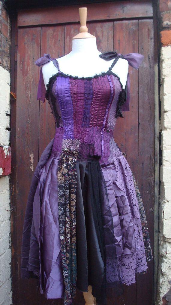 Upcycled Dress  Woman's Clothing Purple by BabaYagaFashion on Etsy, $224.00