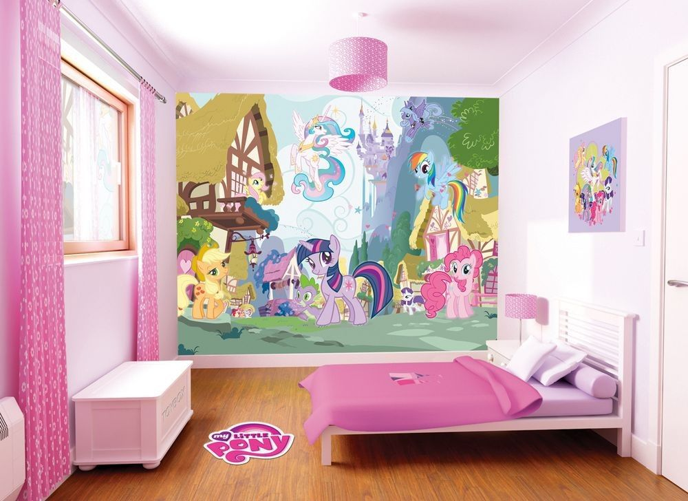 My little pony room makeover my little pony walltastic for Girls bedroom wallpaper ideas