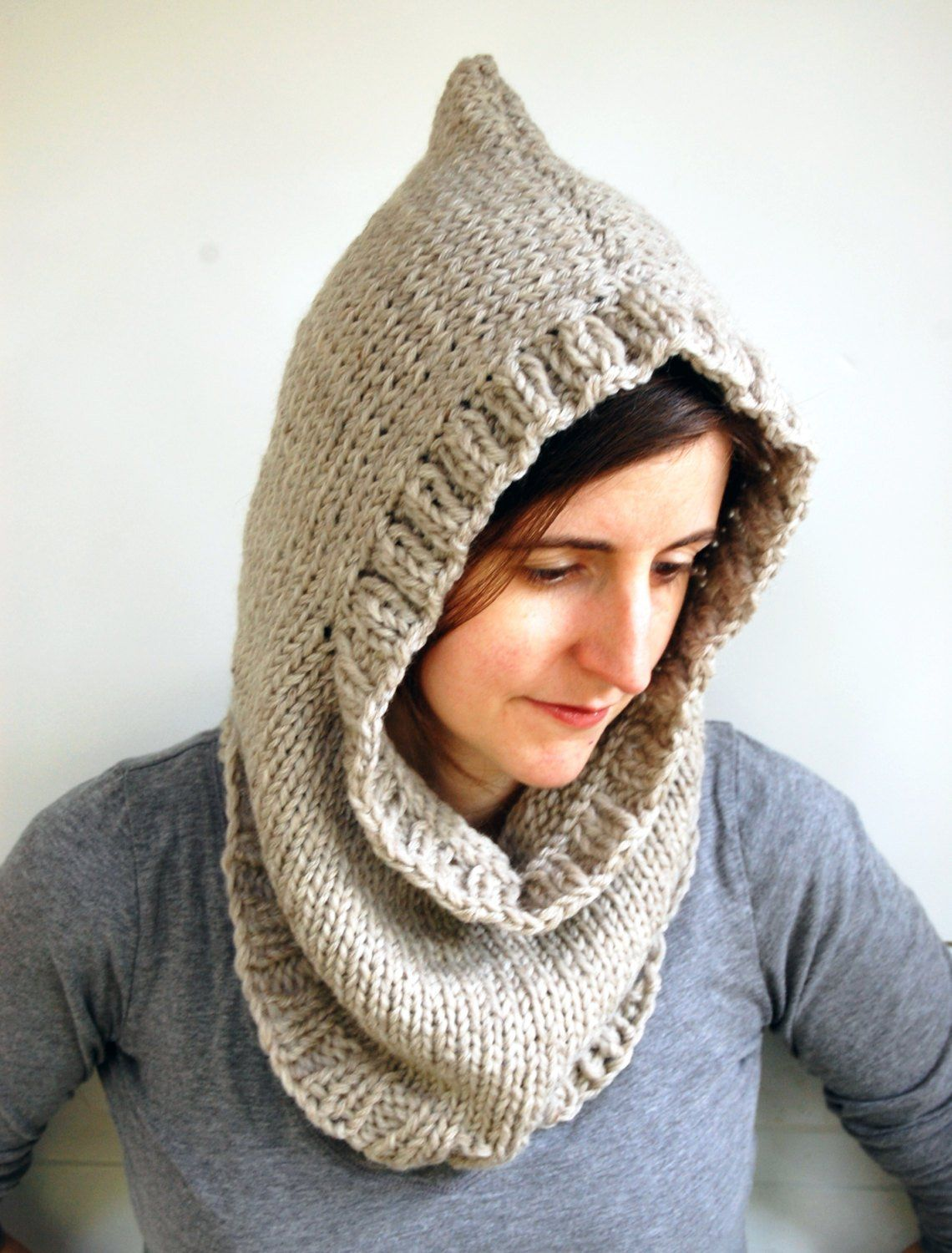 Chunky Hooded Cowl PDF Knitting Pattern Digital Download ...