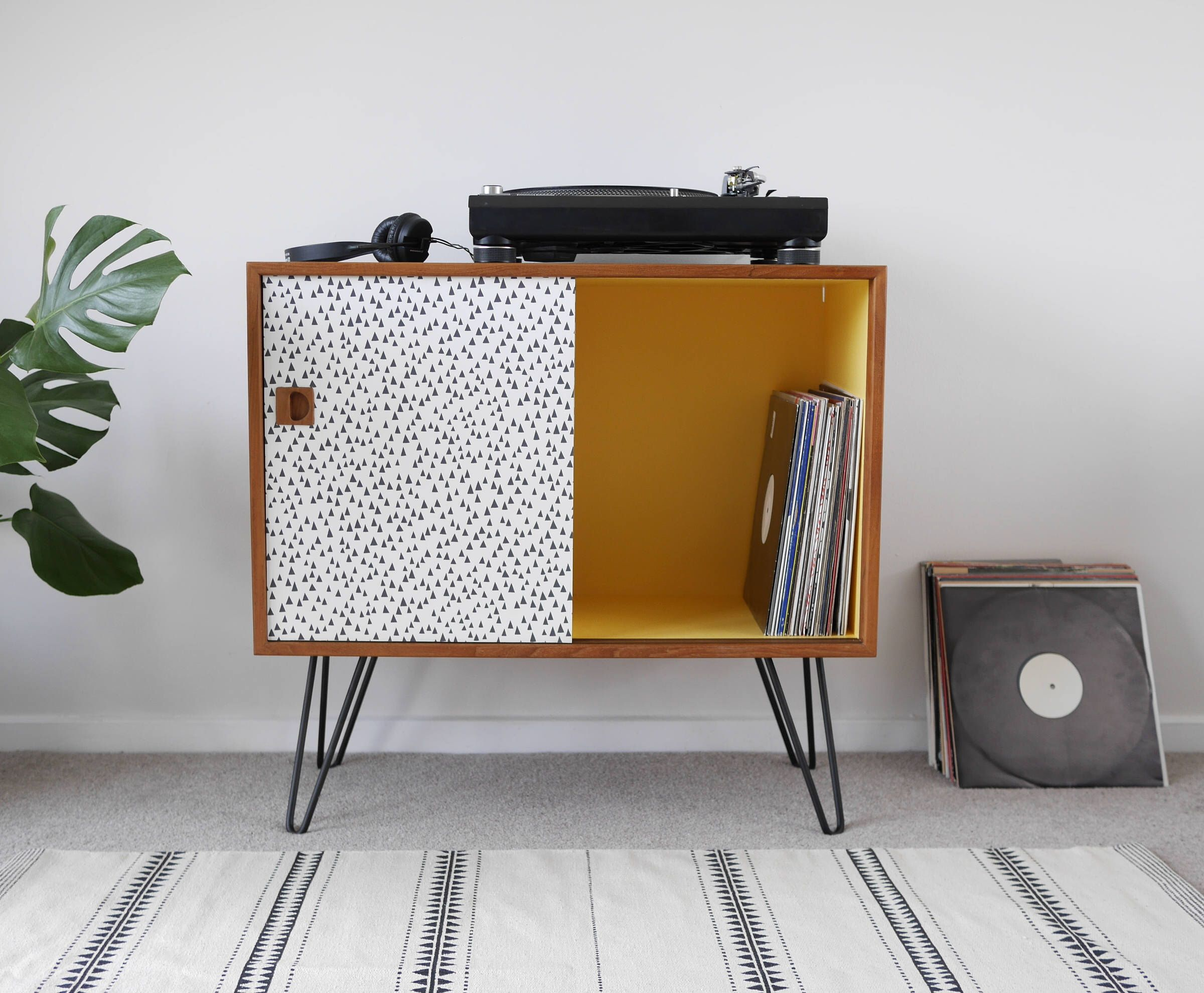 Triangle Print Cupboard for Vinyl Record Storage. Upcycled and Painted with Yellow Interior & Black HairPin Legs. Mid Century Vintage by ElizabethDotDesign on Etsy https://www.etsy.com/listing/531703496/triangle-print-cupboard-for-vinyl-record