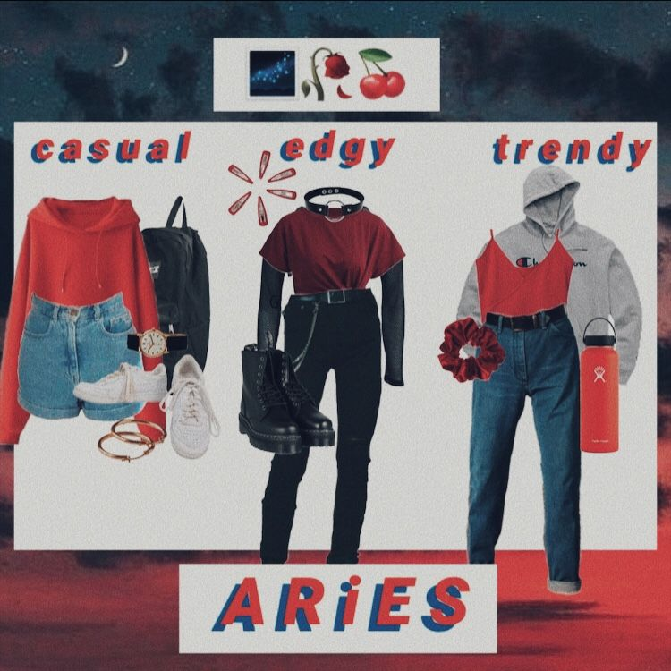 A R I E S Mood Board Aesthetic Zodiac Outfit Moodboard Aries Blue Red Casual Edgy Trendy Aries Aesthetic Zodiac Clothes Aries Outfits