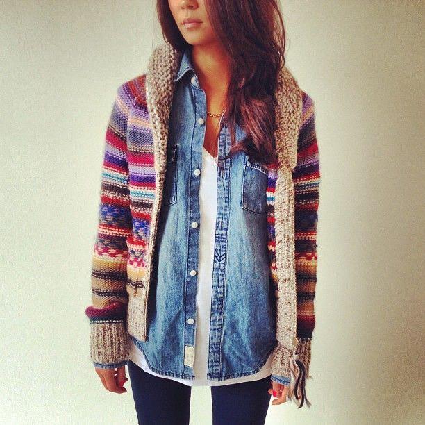 fair isle or southwestern sweater + chambray shirt + white v-neck tee + jeans