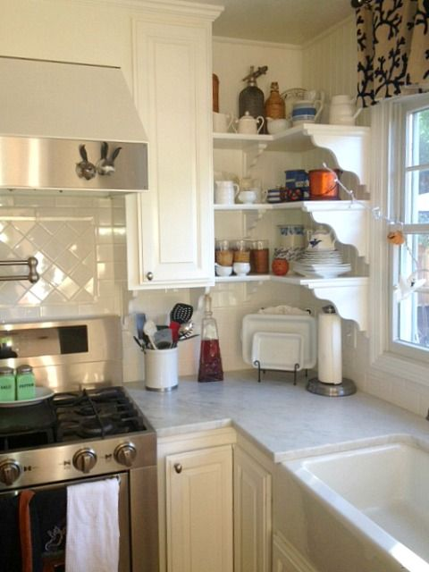 Martha S Renovated Kitchen In California Hooked On Houses Kitchen Shelf Design Corner Shelves Kitchen Kitchen Remodel