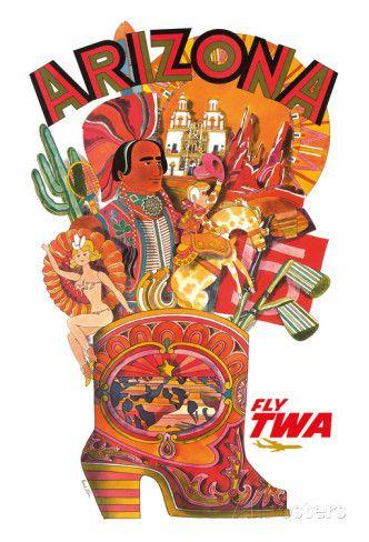 Arizona - Trans World Airlines Fly TWA Giclee-vedos AllPosters.fi-sivustossa