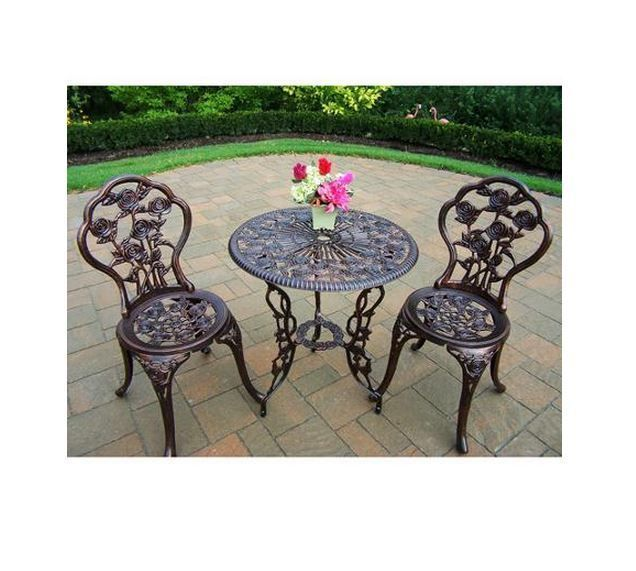 3 Pc Patio Furniture Cast Aluminum Outdoor Table Chairs Garden