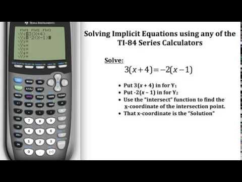 Solving Implicit Equations on the TI-84 Calculator | Pre